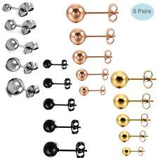 5 Pair Stainless Steel Round Ball Stud Earrings for Men Women Set Assorted Sizes