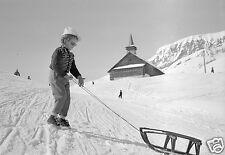 Station de Ski Portrait Fillette et Luge Neige Montagne - Repro Photo ancienne