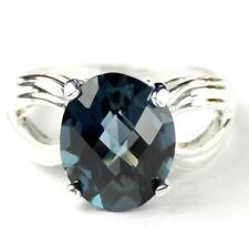 • SR361, 4.5 carat London Blue Topaz, 925 Sterling Silver Ladies Ring -Handmade