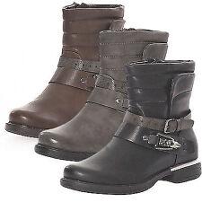 Damen Biker Boots Stiefelette Schuhe Stiefel Halbschuhe Schnalle Neu 36-42 SM 85