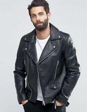 Leather Jacket Mens Black Pure Lambskin Biker Slim Size S M L XL XXL Custom Made