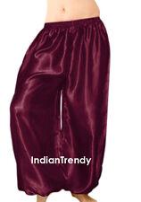 Maroon - Satin Harem Yoga Pant Belly Dance Costume Tribal Pantalons Trouser Boho