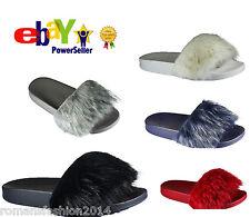 Womens Slip On Flat Furry Rubber Slider Mules Fur Slipper Rihanna Sandals Size