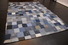 Upcycling Vintage Jeans enim Teppich aus Baumwolle patchwork blau diverse Größe