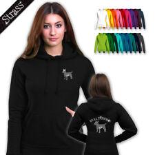 donna pullover con cappuccio strass strassdruck cane bull terrier M1