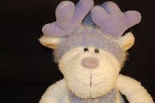 "Peeper Pals Purple Hat Bow Tie White Reindeer STUFFED ANIMAL  LOVEY 11"" Plush"