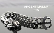 Grosse Gourmette Lourde Pour Homme Bracelet En Argent Massif 925 Luxe 22cm neuve
