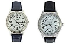Censi Damen Silber Strass großes Zifferblatt PU-Leder Armband-Uhr Analog Quarz