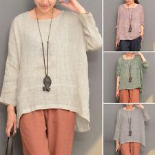 ZANZEA Women Plain Scoop Neck Long Sleeve Oversize Top Shirt Blouse Pullover NEW