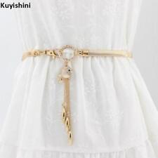 Fashion Elastic Women Metal Fish Stretch Rhinestone Gold Silver Waist Belt