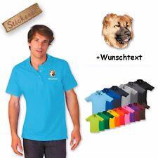 Poloshirt Baumwolle bestickt Stickerei Kaukasischer Owtscharka + Wunschtext