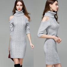 elegante abito Vestito invernale in maglia donna maxi maglione collo alto