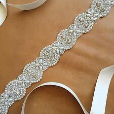 Bridal Pearl Beaded Sash,Wedding Dress Sash,Rhinestone Sash with Satin Ribbon