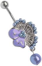 Piercing Ombligo Joya 2-color Flores con Decoración de perlas y Colgante