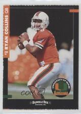 1993 Bumble Bee Miami Hurricanes #8 Ryan Collins Rookie Football Card
