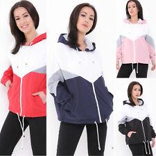 Contrast Colour Block Womens Hooded Rain Mac Festival Ladies Windbreaker Jacket