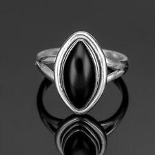 Marquise 925 Sterling Silver Ladies Onyx Ring Black Gemstone Jewellery Gift