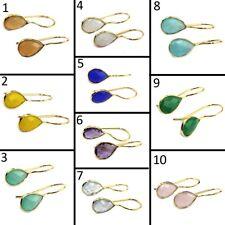 Designer Pear Drop Gemstone 24k Gold Plated Hook Earring Rare Gemstone Jewelry