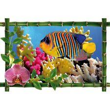 Sticker Bambou déco poisson multicolore 971