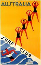 Australia Surf Club - Australian vintage old repro travel poster