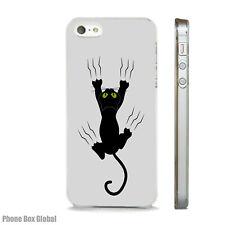 FUNNY BLACK CAT SCRATCH ART CASE FITS IPHONE 4 4S 5 5S 5C 6 6S 7 8 SE PLUS X S