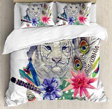 Tiger Duvet Cover Set with Pillow Shams Retro Feline Cat Print