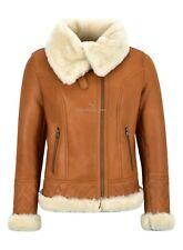 Ladies Sheepskin Jacket White Shearling Asymmetric Real Fur Bomber Jacket NV-43