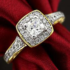 18K YELLOW WHITE GOLD GF WOMENS VINTAGE SQUARE LAB DIAMOND BRIDAL WEDDING RINGS