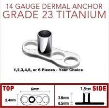 Grade 23 G-23 Solid Titanium Dermal Anchor Implant Base 14g 2.5mm 3 Hole Rise
