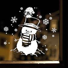 10874 Wandtattoo loft fenêtre bonhomme de neige Noël luge hiver autocollant