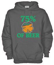 Felpa Con Cappuccio KJ1158 75% of Beer Guinnes San Patrizio Irish Shamrock