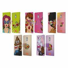 OFFICIAL emoji® POP ART LEATHER BOOK WALLET CASE FOR MICROSOFT NOKIA PHONES