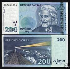 LITHUANIA 200 P63 1997 EURO HORSE LIGHT HOUSE UNC NOTE