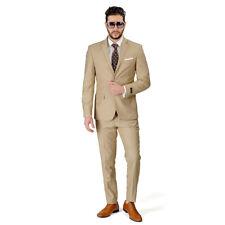Tan Beige Slim Fit Men Suit 2 Button Notch Lapel Azar Man Vest Optional 4030-10