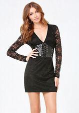 BEBE Black Adri Lace Faux Leather Corset Dress Party Cocktail Rockin Edgy 6 8 10