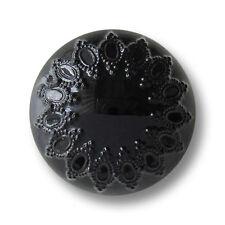5 wunderschöne schwarze Kunststoff Ösen Knöpfe in Halb Kugel Form (5657sc)