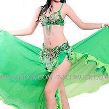 A007-2 Costume De Danse Du Ventre 3 Pièces BH+ Ceinture + Jupe danse orientale