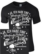 Vater Vatertag Dad Tochter Schaufel Waffe Revolver Alibi Geschenk Funshirt Shirt