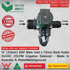 """3/4"""" inch 20mm Inlet x 19mm Barb Outlet Irrigation Solenoid Valve 24V AC 20LPM"""