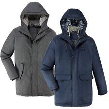 Mens Parka Parker Jacket Faux Fur Lined Hood Warm Winter Long Padded Coat Outdoo