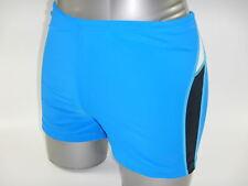 Men Swim Boxer Brief Trunks Square Leg Swimmer Swimsuit Swimwear Blue M to XXXL