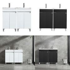 "40"" Double Sink Bathroom Vanity Floor Cabinet Vessel Sink Faucet Set White/Black"