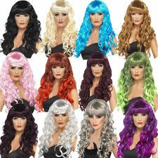 Femmes Long Bouclés Perruque Blonde Noir Marron Bleu Violet Rouge Gris Rose Blanc Smiffys