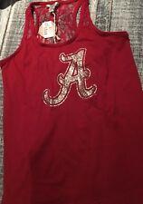 University of Alabama Ladies Crimson Lace Back Tank Top with Script A