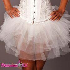 New White Satin tutu Skirt petticoat Dress costume accessories S M L XL 2XL