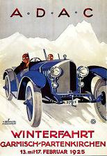 Art Poster ADAC 1925 Winterfahrt Garmisch Partenkirchen Automobile Car  Print