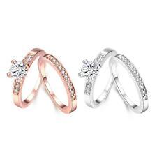 Rose Gold Platinum Plated Bridal Engagement Wedding Set Ring AAA Zirconia B153