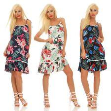 5440 Casual Damen Kleid Knielanges Sommerkleid Volants Blumen Strandkleid
