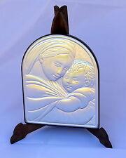 Madonna con bambino satinata icona in argento 925/1000