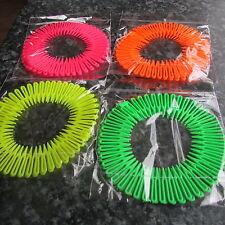 Pack 2 neon colour hair flexi combs plastic zigzag flexicomb headband band 80's